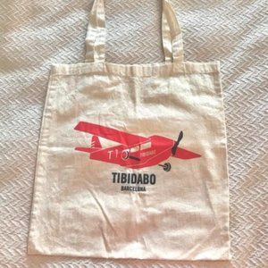 Tibidabo Barcelona canvas tote bag red plane
